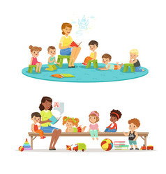 group of preschool kids and teacher teacher vector image