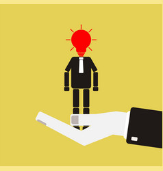 Recruitment concept agent hand is holding the vector