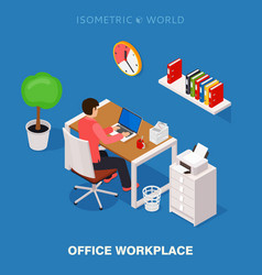 Colored 3d isometric office workplace vector