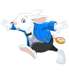 Running white rabbit vector