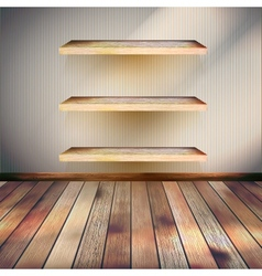 Empty three wood shelf on wall eps 10 vector