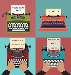 Four retro typewriters vector