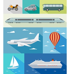 Transportation flat icons vector