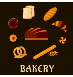 Bakery flat icons with breads and pastry vector