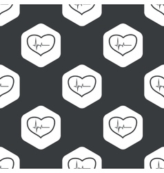 Black hexagon cardiology pattern vector
