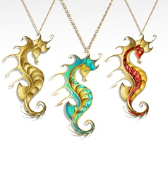 golden seahorses vector image