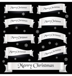 White merry christmas curved ribbon banners eps10 vector
