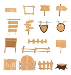 Wooden cartoon signs vector