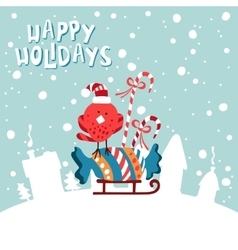Xmas card image birdies in a santa hat with vector
