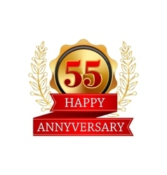 55 years anniversary golden label with ribbons vector
