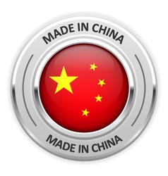 Silver medal made in china with flag vector