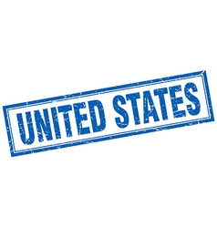 United states blue square grunge stamp on white vector