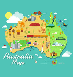 Australia map with colorful landmarks design vector