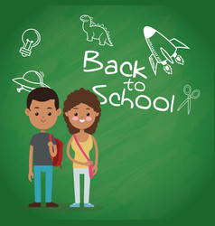 Back to school two pupil board chalk text draw vector