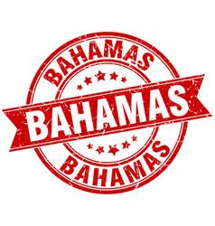 Bahamas red round grunge vintage ribbon stamp vector