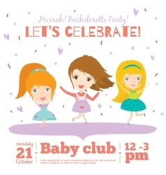 birthday invitation card on baby party with vector image vector image