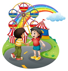 Boys handshaking in front of the carnival vector