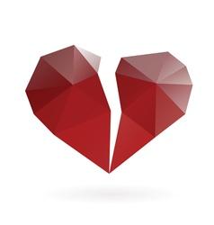 broken heart low poly design vector image