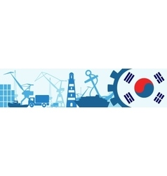 Cargo port relative icons set korea flag in gear vector