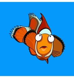 cartoon orange clown fish vector image vector image