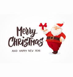 christmas card funny cartoon santa claus holding vector image