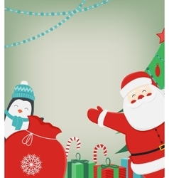 Christmas composition with Santa Claus and Penguin vector image vector image