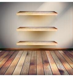 Empty three wood shelf on wall EPS 10 vector image