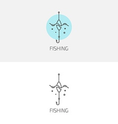 fishing gear logo set vector image