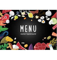 food background with realistic meat vegetables vector image