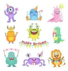 Friendly monsters with birthday party attributes vector