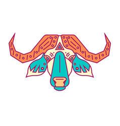 geometric head of bull simple forms vector image vector image