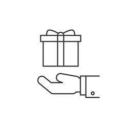 gift box on hand line icon vector image vector image
