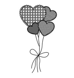 grayscale figure hearts balloons icon vector image