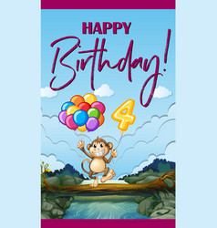 Happy birthday card with monkey and balloons vector