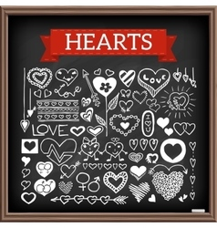 Heart doodles set vector image vector image