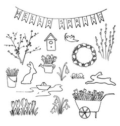 Hello spring sketch set first flowers gardening vector