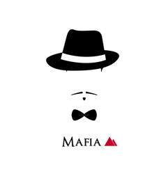 italian mafioso face on white background vector image vector image