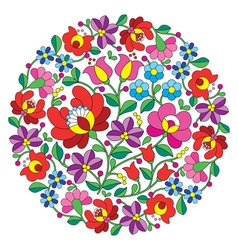 Kalocsai folk art embroidery - hungarian round flo vector