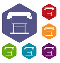large format inkjet printer icons set vector image vector image
