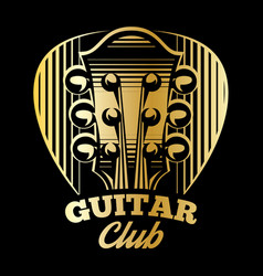 logo template plectrum and guitar vector image