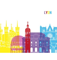 Lyon skyline pop vector