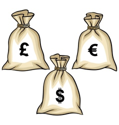 Money bags with dollars euro and pound vector image