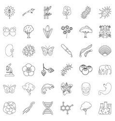 nature icons set outline style vector image vector image