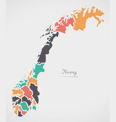 Norway map with states and modern round shapes vector