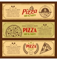 Pizza horizontal vintage style banners set vector