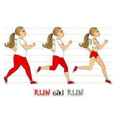 Running woman weight loss progress vector image