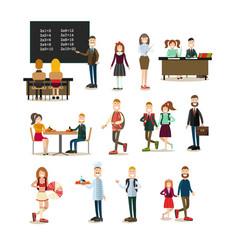 School people flat icon set vector
