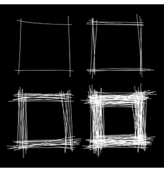 Set of White Hand Drawn Scribble Squares vector image vector image