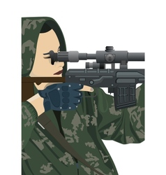 Sniper and sniper scope vector image vector image