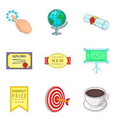 Statement icons set cartoon style vector
